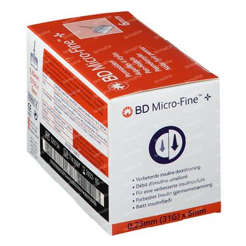 BD Micro-Fine Pennaalden 0,25mm 31g 6mm 100 pièces