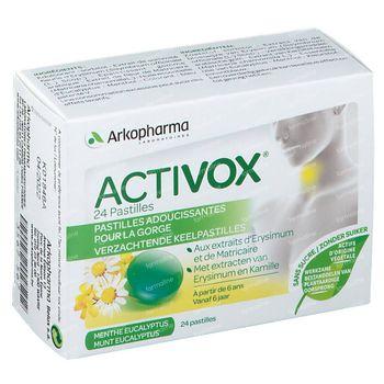 Activox Pastilles Munt-Eucalyptus Zonder Suiker Nieuwe Formule 24 zuigtabletten