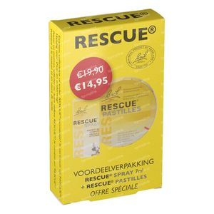 Bach Bloesem Rescue Spray  7ml + Rescue Pastilles 50g Promo Pack 1 item