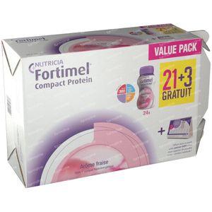 Fortimel Compact Protein Erdbeere 21+3 GRATIS 24x125 ml