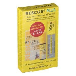 Bach Bloesem Rescue Spray 20 ml + 10 Rescue Plus Bonbons For FREE 1 set