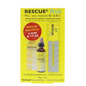 Bach Bloesem Rescue Gotas 20 ml + 10 Rescue Plus Bombones GRATIS 1 conjunto
