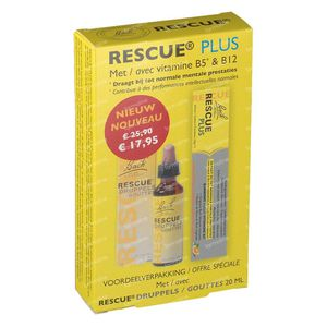 Bach Bloesem Rescue Druppels 20 ml + GRATIS 10 Rescue Plus Bonbons 1 set