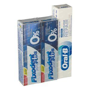 Fixodent Pro Plus 0% Pasta Adhesiva Duo + FREE Oral B Dentífrico 2x40 g + 50 ml