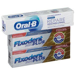Fixodent Pro Plus Duo Action Crème Adhésive Duo + GRATUIT Oral B Dentrifrice 2x40 g + 50 ml