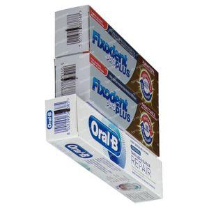 Fixodent Pro Plus Duo Action Kleefpasta Duo + GRATIS Oral B Tandpasta 2x40 g + 50 ml