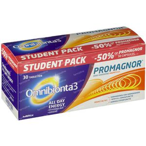 Studentpack Promagnor + Omnibionta 3 All Day Energy 2x30 capsules