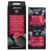 Apivita Beauty Express Masque Revitalisant pour Peau Eclatante avec Grenade 2x8 ml