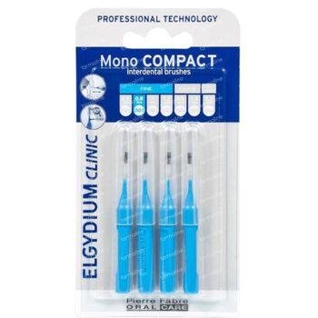 Elgydium Clinic Mono COMPACT Interdentale Borstel Fine 0,8mm Blauw 4 stuks