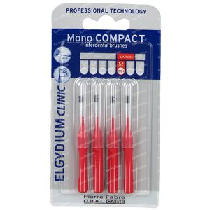 Elgydium Clinic Mono COMPACT Brosse Interdentaire 1,5mm Rouge 4 pièces