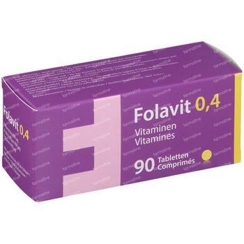 Folavit 0,4mg Acide Folique Nouvelle Formule 90 comprimés