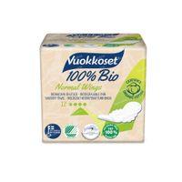 Vuokkoset Serviette Hygiénique Normale avec Ailettes 100% Bio 12 pièces