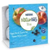 Nestlé NaturNes Bio Appel - Perzik - Zwarte Bes 4 Maanden 4x90 g