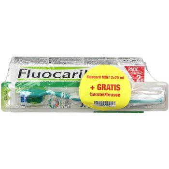 Fluocaril Dentifrice Bi-Fluoré 145 Menthe Duo + Brosse à Dents OFFERT 2x75 ml