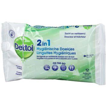 Dettol 2-en-1 Lingettes Hygiéniques 12 pièces