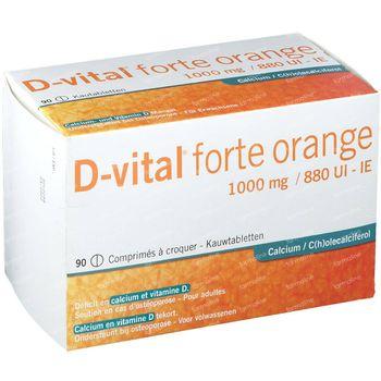 D-vital Forte Orange 1000mg/880IE Calcium 90 comprimés à croquer