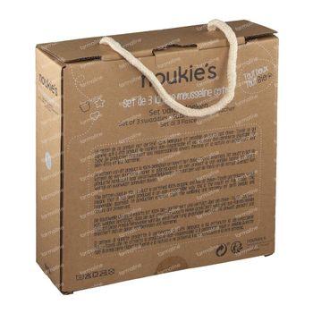 Noukie's Tissus Tetris Cotton Bio 70x70cm Cachou 3 pièces