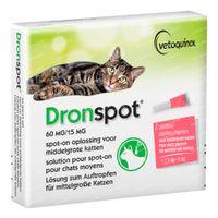 Dronspot® 60mg/15mg Spot-On Oplossing voor Middelgrote Katten 2x0,7 ml