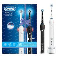 Oral B Pro 2 2900 Brosse à Dents Électrique Noir & Blanc DUO 1  set