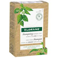 Klorane 2-in-1 Mask Shampoo Powder with Organic Nettle and Clay 8x3 g poeder