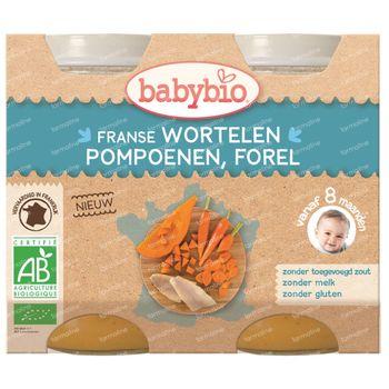 Babybio Franse Wortelen-Pompoen-Forel 8 Maanden 2x200 g