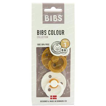 BIBS Tétine Moutarde - Blanc 0-6 Mois 2 pièces