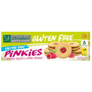 Damhert Gluten Free Pinkies Framboise Biscuits Crème Vanille Lactose Free 125 g