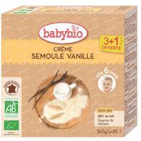 Babybio Semoule Vanille - Alimentation Biologique pour Bébé - Dessert - Goûter - dès 6 Mois 4x85 g