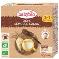 Babybio Semoule Cacao - Alimentation Biologique pour Bébé - Dessert - Goûter - dès 8 Mois 4x85 g
