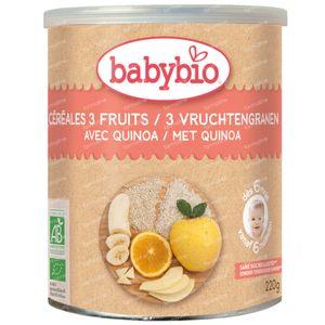 Babybio Biologische 3 Vruchtengranen met Quinoa – Biologische Babyvoeding  - Babygranen – vanaf 6 Maanden 220 g