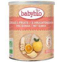 Babybio Céréales Biologiques aux 3 Fruits avec Quinoa - Alimentation Biologique pour Bébé - Céréales pour Bébé - dès 6 Mois 220 g