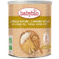 Babybio Bio 3 Cereals Natural - Céréales pour Bébés - dès 6 Mois 220 pièces