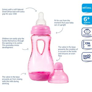 Difrax Easy Grip Baby Bottle Pink 170ml 170 ml