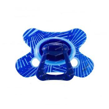 Difrax Sucette Natural Boy +12m Lines Bleu 1 pièce