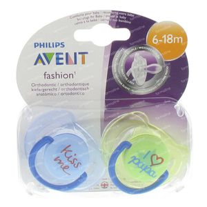 Avent Dummy Fashion Blue + Green 6-18m Kiss Me + I Love Papa 2 Pezzi