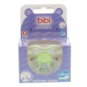 Bibi Happiness Dental Soother 0-6 Months Blue/Green Owl 1 pezzo