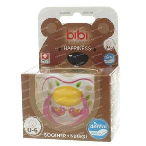 Bibi Dental Soother Happiness 0-6 Months Pink Birds 1 pezzo