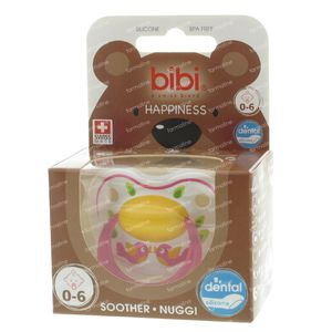 Bibi Dental Soother Happiness 0-6 Months Pink Birds 1 St