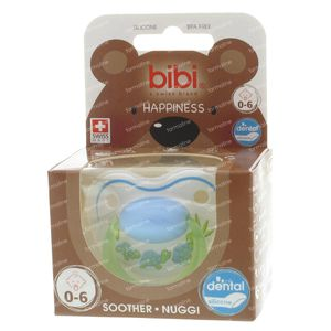 Bibi Dental Soother Happines 0-6 Months Blue/Green Turtles 1 stuk