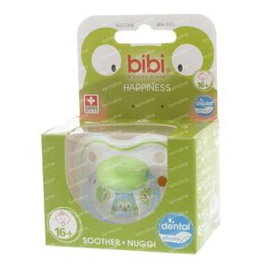 Bibi Dental Soother Happiness +16 Months Blue/Green Owl 1 St