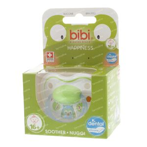 Bibi Dental Soother Happiness +16 Months Blue/Green Owl 1 item
