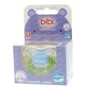 Bibi Fopspeen Happiness Schildpadjes Blauw/Groen Dental 6-16M 1 St