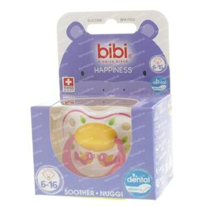 Bibi Dental Soother Happiness 6-16 Months Pink Birds 1 item