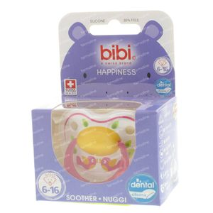 Bibi Dental Soother Happiness 6-16 Months Pink Birds 1 St