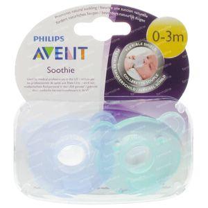 Avent Sucette En Silicone Soothie 0-3 Mois Bleu-Vert 2 Pièces