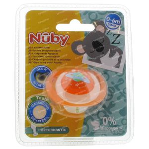 Nuby Fopspeen Glow In The Dark Orthodontisch 0-6 Maanden Oranje-Planeet 1 stuk