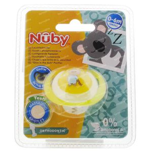Nuby Fopspeen Glow In The Dark Orthodontisch 0-6 Maanden Geel-Beer 1 stuk