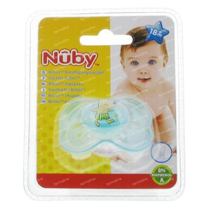 Nuby Sucette Silicone Mini Brites Ovale +18 Mois Bleu-Ours 1 St