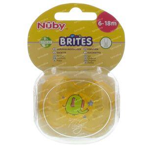 Nuby Fopspeen Silicone Brites Ovaal 6-18 Maanden Geel-Olifant 1 stuk