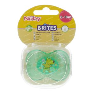 Nuby Sucette Silicone Brites Ovale 6-18 Mois Vert-Ours 1 pièce